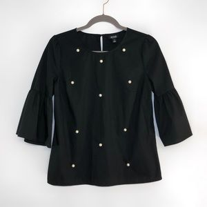 a.n.a black faux pearl bell sleeve blouse